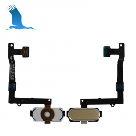 Home Button With Flex Cable - White - S6 Edge - QON