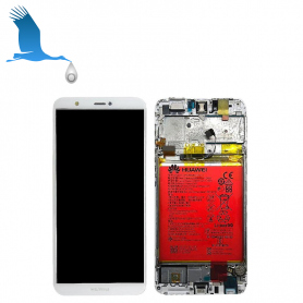 LCD + Frame + Battery - White - P Smart (FIG -LX1)