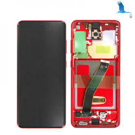 LCD With frame - Red - S20 (G980F/G981B) - GH82-22123E - qor