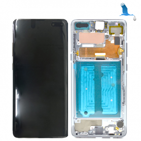LCD Display + Touchscreen + Frame - Silver (Crown Silver) - Galaxy S10 5G - G977B - GH82-20442A - Orig
