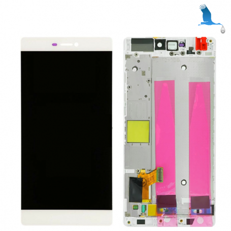 Display, Touch Screen and frame - 02350GRS - White - Huawei P8 (GRA-L09) - original - qor