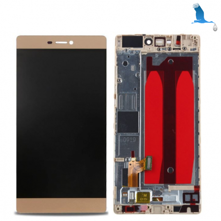 Display, Touch Screen and frame - 02350GSQ - Gold (Mystic Champagne) - Huawei P8 (GRA-L09) - original - qor