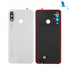 Back cover glass with lens - 02352RQB - White (Pearl white) - Huawei P30 Lite (MAR-LX1M) - service pack